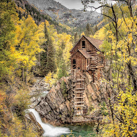 Crystal Mill  by Michael Land - Landscapes Travel ( foliage, crystal mill, colorado, crystal, leaves, aspen )