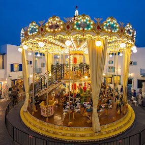 Merry go round at night by Vorravut Thanareukchai - City,  Street & Park  Amusement Parks ( merry, amusement, shadow, beautiful, theme park, night time, light )