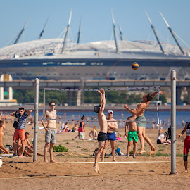 First day of summer by Maxim Malevich - Sports & Fitness Other Sports ( sand, russia, saint-petersburg, volleyball, street, summer, sport, beach, people )