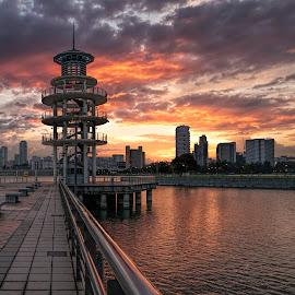 by Gordon Koh - City,  Street & Park  City Parks ( clouds, dramatic sunset, reflection, sunset, riverfront, asia, travel )