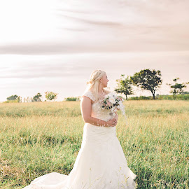 Country Bride by Lindsey Sides - Wedding Bride ( field, i do, wedding photography, nature, sunset, wedding, wedding dress, she said yes, flowers, bride )