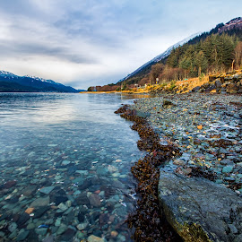 The Channel in Juneau by Carol Ward - Landscapes Waterscapes ( water, mountains, waterscape, alaska, juneau, landscape, channel )