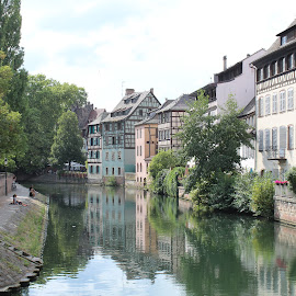 Relections of Le Petite France - Strasbourg by Ashley Rolland - City,  Street & Park  Historic Districts ( city view, streetscape, le petite france, france, cityscape, boat, river walk, river, strasbourg,  )
