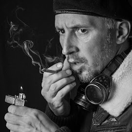 Back On A Mission by Bogdan Rusu - People Portraits of Men ( googles, cigarette, pilot, moody, smoke )