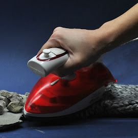 ironing by Viktoria Nikolla - Artistic Objects Clothing & Accessories ( #opticalillussion #melt #iron #fabric #rock #colors )