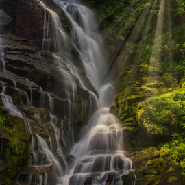 Eastatoe Falls by Mark Turnau - Landscapes Waterscapes ( waterscape, time exposure, waterfall, tripod, landscape, rocks, light, sun rays )