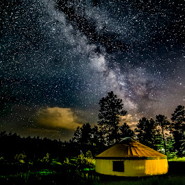 Milky Way over Ranch by Noah Gallagher - Landscapes Starscapes ( clouds, milkyway, stars, yurt, cloud, night, astrophotography, milky way )