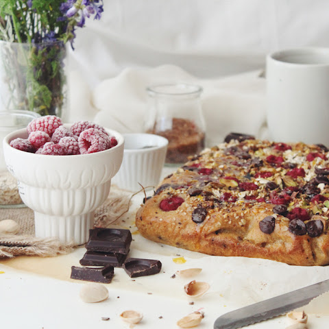 Raspberry Pistachio Orange Chocolate Coffee Cake
