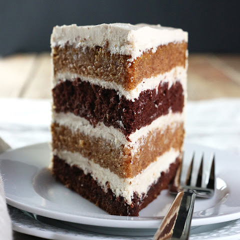 Pumpkin & Chocolate Layer Cake with Whipped Brown Sugar Frosting