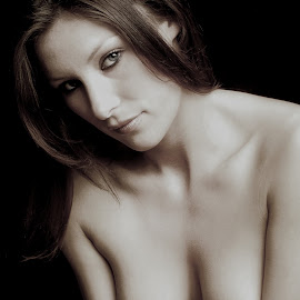 by Shaun Healey - Nudes & Boudoir Artistic Nude ( model, monochrome, topless, portrait )
