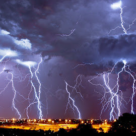 Combined Lightning at Night by Cobus Olivier - Landscapes Weather ( lightning, south africa, weather, storms, nightscape,  )
