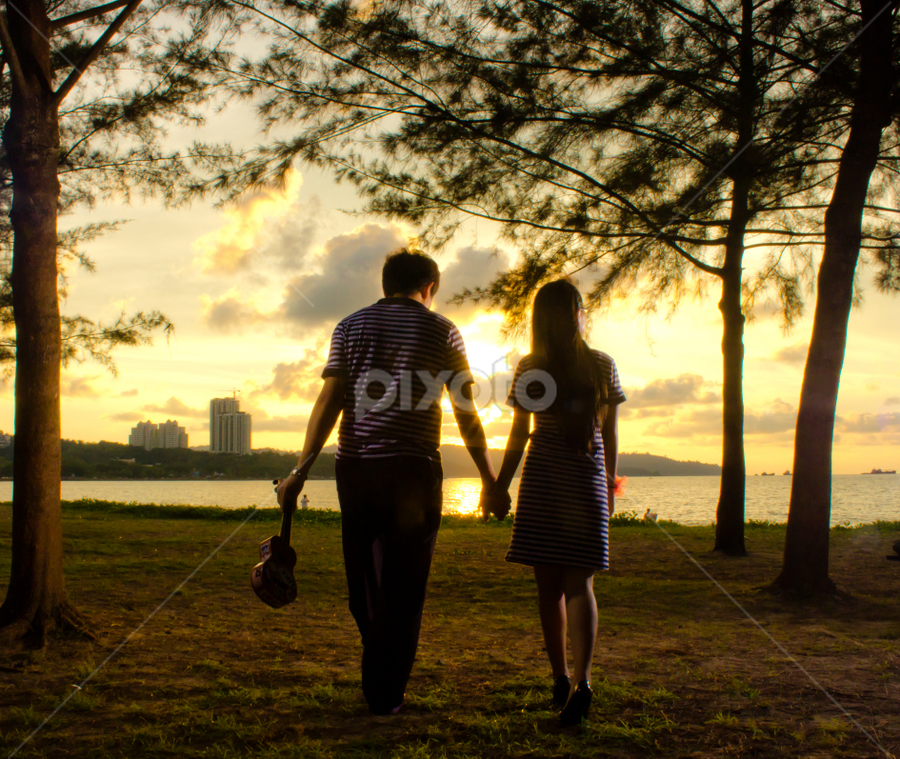 sunset walk by Lubelter Voy - People Couples ( clouds, park, grass, bright, male, sea, beach, people, sun, couples, friends, ukulele, female, hands, sunset, weekend, trees, golden hour )