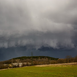 Shelf Cloud by Luka Milevoj - Landscapes Cloud Formations ( istra, cloud formations, croatia, cloud, shelf, landscape )