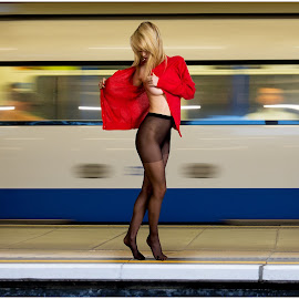 Non-Stop Exotic Dancing by Mike Lloyd - People Fashion ( fashion, girl, transport, train, public, dance, outside )