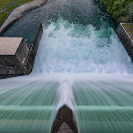 Norris Dam up close by R Jay Prusik - Landscapes Waterscapes
