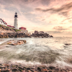 Portand HeadLight HDR by David Pratt - Landscapes Waterscapes