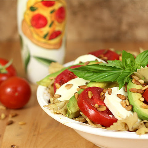 Avocado, Tomato, Mozzarella and Basil Pasta Salad with Pine Nuts