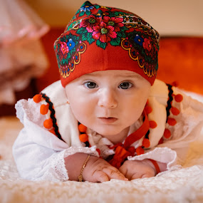 Traditional by Klaudia Klu - Babies & Children Babies ( red, baby girl, traditional, smile, photography )