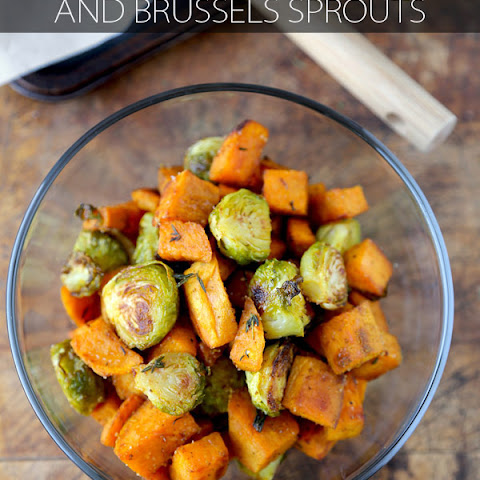 Oven Roasted Sweet Potatoes and Brussels Sprouts