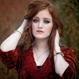 Red by Carole Brown - People Portraits of Women ( headshot, red hair, gorgeous, blue eyes, rust shirt )