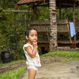 Pose by Wing Yin Cheong - Babies & Children Child Portraits ( whole body, girl, village, children, wet, philippines )