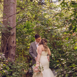 Stay Awhile by Kate Gansneder - Wedding Bride & Groom ( kiss, wedding, couple, forest, bride, groom )