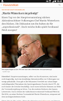 Screenshot of Handelsblatt Online