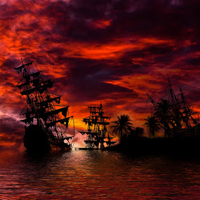 Graveyard by Corin Spinks - Uncategorized All Uncategorized ( desert island, shipwreck, silhouette, sunset, ship, sea, boat,  )
