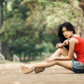 Righ Here Waiting by Arrahman Asri - People Fashion ( fashion, woman, green, beautiful, beauty, garden, people )