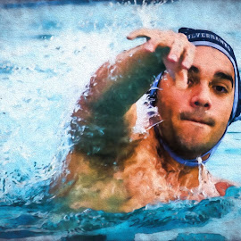 Water Polo - Pass by Alison Graham - Digital Art People ( pool, water polo, swim, sports, athlete )