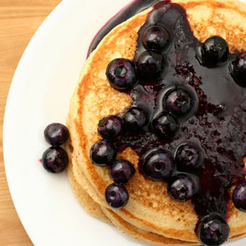 Whole Grain Pancakes With Blueberry Maple Syrup