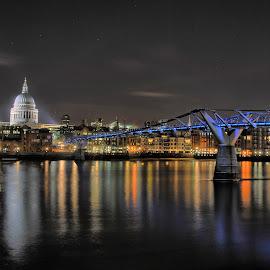St Pauls and the Bridge by Paul Southgate - Buildings & Architecture Bridges & Suspended Structures ( st pauls, night photography, thames, london, reflections, millennium bridge, long exposure, night,  )
