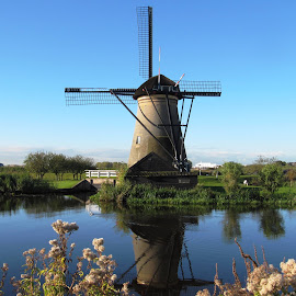 Kinderdijk, Netherlands by Becky Martin - Buildings & Architecture Architectural Detail ( refelections, kinderdijk, windmills, netherlands )