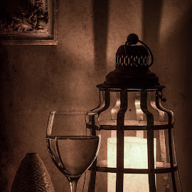 Eve of Old by David Hopper - Artistic Objects Still Life ( wine, candle, sepia, black & white, still, aged )