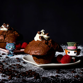 Tea Time by Mel Stratton - Food & Drink Cooking & Baking ( muffins, dark photography, chocolate, cat, cheshire cat, dark food photography, food photography, muffin, dark food, mad hatter, photography )