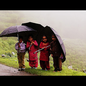 Let's Go to School by Shishir Pal Singh - Babies & Children Children Candids ( hills, candid kids, school, kids, rain )