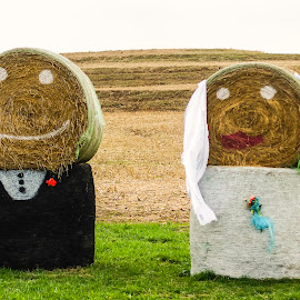 Hay Bride And Groom  by Gary Wahle - Wedding Bride & Groom ( countryside, hay bales, wedding, bride and groom, bride, groom,  )