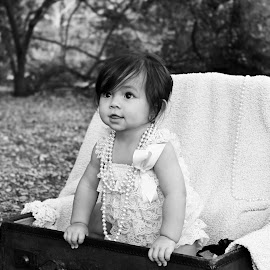 Everly by Kari McClure Webb - Babies & Children Child Portraits ( birthday, girl, suitcase, black and white, first birthday, baby, cute, smile,  )