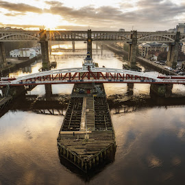 Red Swing by Adam Lang - Buildings & Architecture Bridges & Suspended Structures ( river tyne, sunset, high level bridge, gateshead, newcastle, river, swing bridge )