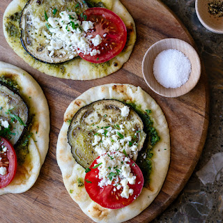 Roasted Eggplant, Tomato and Pesto Mini Naan