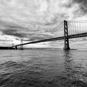 Bay Bridge by Frederic Rivollier - Landscapes Waterscapes ( black and white, pwcbwlandscapes, bay bridge, bridge, san francisco )