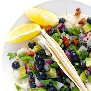 Fish Tacos with Blueberry-Almond Salsa