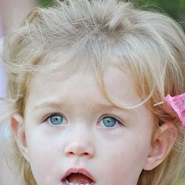 Surprise by Laurette van der Merwe - Babies & Children Children Candids ( girl child, blonde, child photography, children candids, blue eyes, candid, portraits )