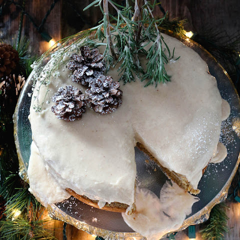 Eggnog Frosted Gingerbread Cake