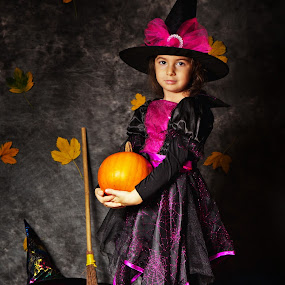 Big Little Witch by Nicu Buculei - Public Holidays Halloween ( girl, witch, play, costume, children, kids, halloween,  )
