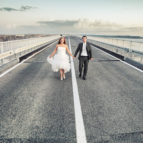 wedding bride groom bridge road by Boštjan Vučak - Wedding Bride & Groom ( love, walking, wedding, road, bride, groom )