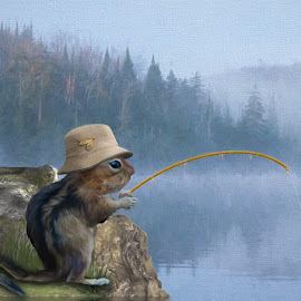 Fishing Chipmunk by Charlie Alolkoy - Illustration Cartoons & Characters ( water, grass, chipmunk, forest, lake, fishing, mammal )