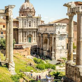 Ruins In Rome by T Sco - Buildings & Architecture Decaying & Abandoned ( rome, columns, roman, historical, history, building, pillar, ruins, land, landmark, italy, landscape, architecture )