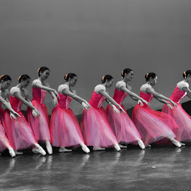 Ballerinas in Pink by Joni Chng - People Musicians & Entertainers ( dancers, gisele, color splash, pink, ballet, dance )