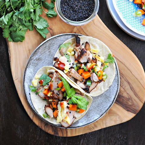 Lemongrass Chicken + Tamago Banh Mi Tacos With Five Spice Mayo